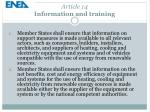 article 14 information and training