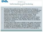 article 14 information and training1