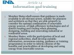 article 14 information and training2