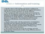 article 17 information and training