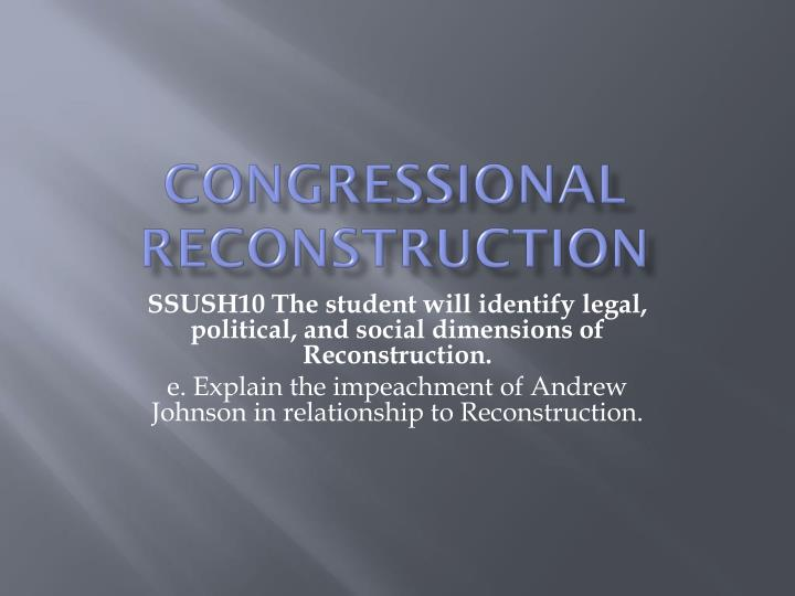 congressional reconstruction n.