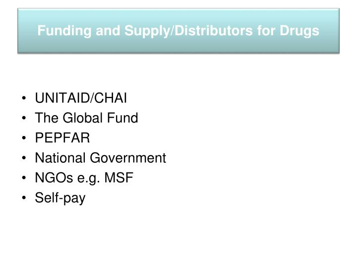 Funding and supply distributors for drugs