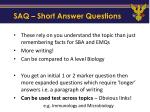 saq short answer questions