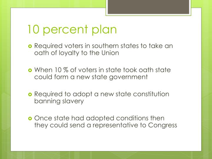 10 percent plan