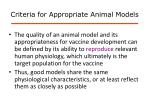 criteria for appropriate animal models