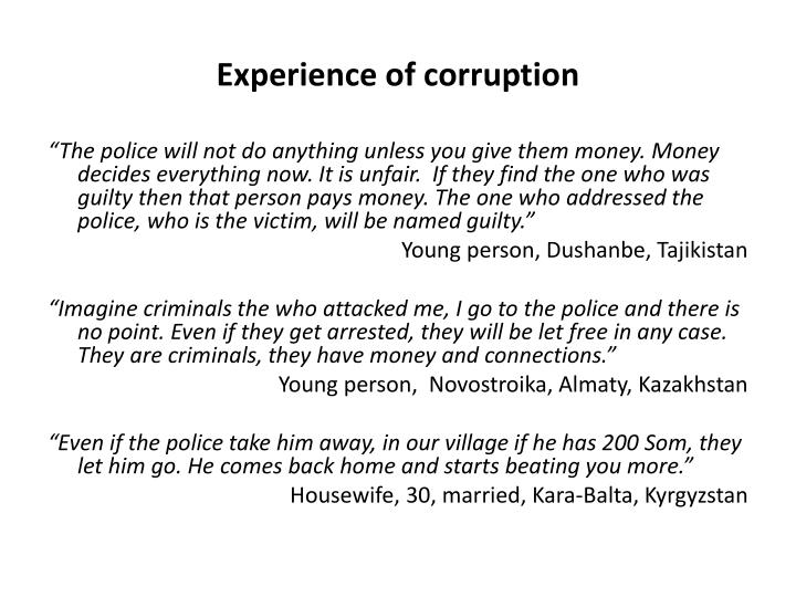 Experience of corruption