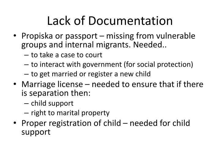 Lack of Documentation