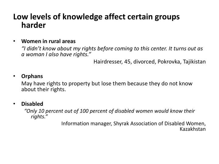 Low levels of knowledge affect certain groups harder
