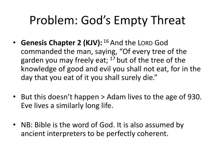 Problem god s empty threat