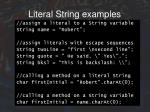 literal string examples
