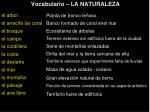 vocabulario la naturaleza