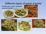 different types of pasta al pesto