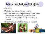 care for head neck and back injuries