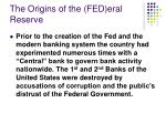 the origins of the fed eral reserve
