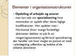 elementer i organisationsstrukturen