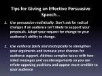 tips for giving an effective persuasive speech