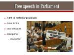 free speech in parliament