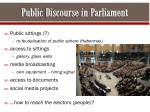 public discourse in parliament