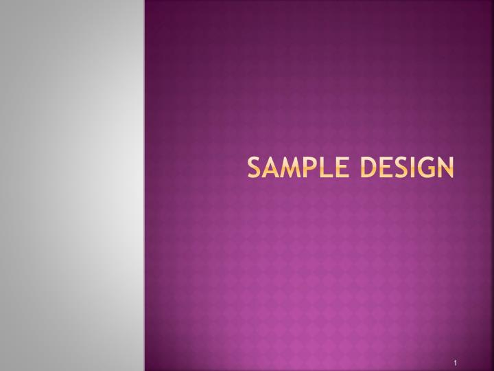 sample design n.