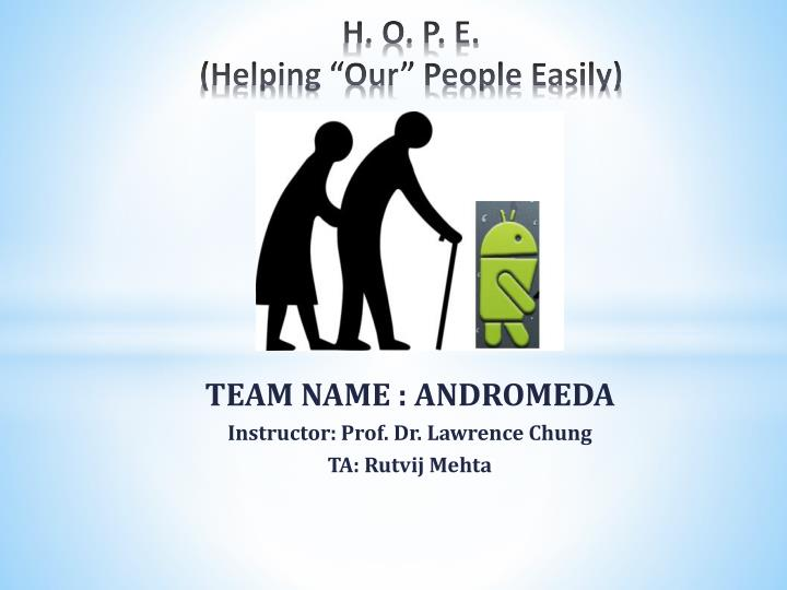 h o p e helping our people easily n.