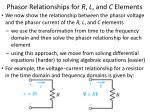 phasor relationships for r l and c elements