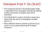 conclusion from y cai slac