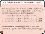 calendrier des evaluations externes
