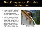 non compliance portable ladder use