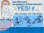 can rwh solve the problems of water scarcity1