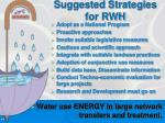 suggested strategies for rwh
