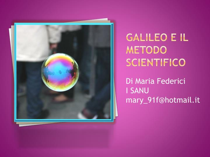 galileo e il metodo scientifico n.