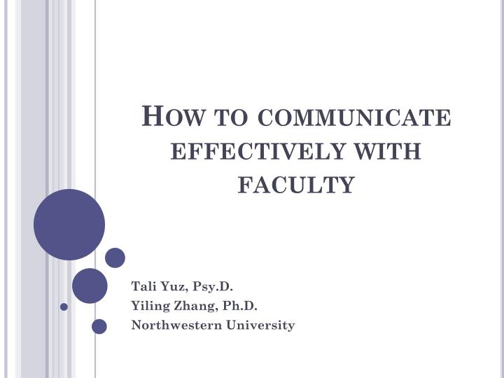 how to communicate effectively with faculty n.