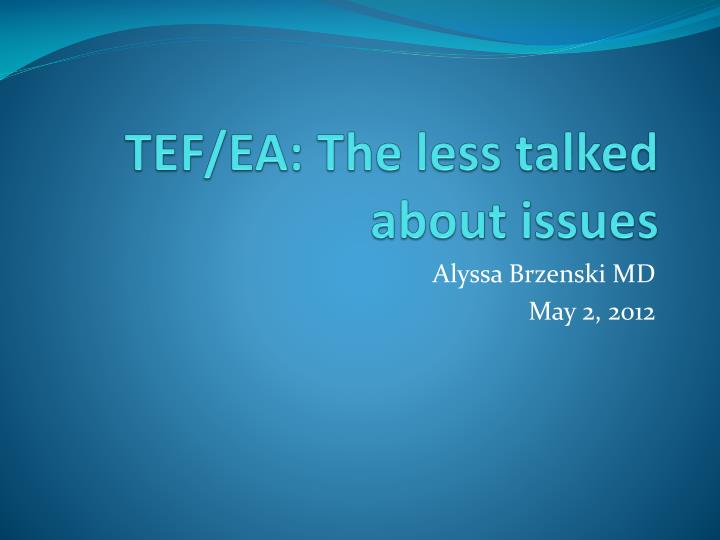 tef ea the less talked about issues n.