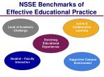 nsse benchmarks of effective educational practice
