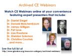 archived ce webinars