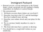immigrant postcard