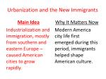 urbanization and the new immigrants