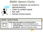 b0600 speech clarity