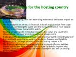 advantages for the hosting country