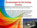 disadvantages for the hosting country