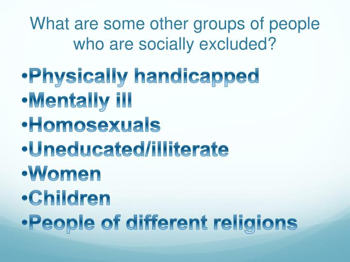 what are some other groups of people who are socially excluded n.