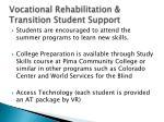 vocational rehabilitation transition student support