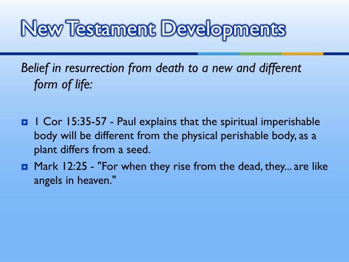 New Testament Developments