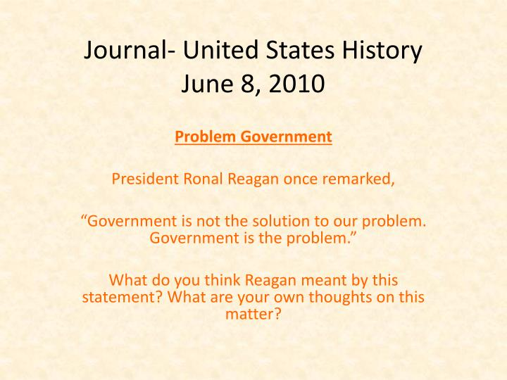 journal united states history june 8 2010 n.