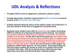 udl analysis reflections