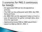 3 scenarios for pm2 5 continuous for naaqs