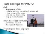 hints and tips for pm2 5