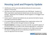 housing land and property update