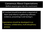 consensus about expectations before anyone goes into the courtroom