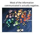 most of the information communicated is actually negative